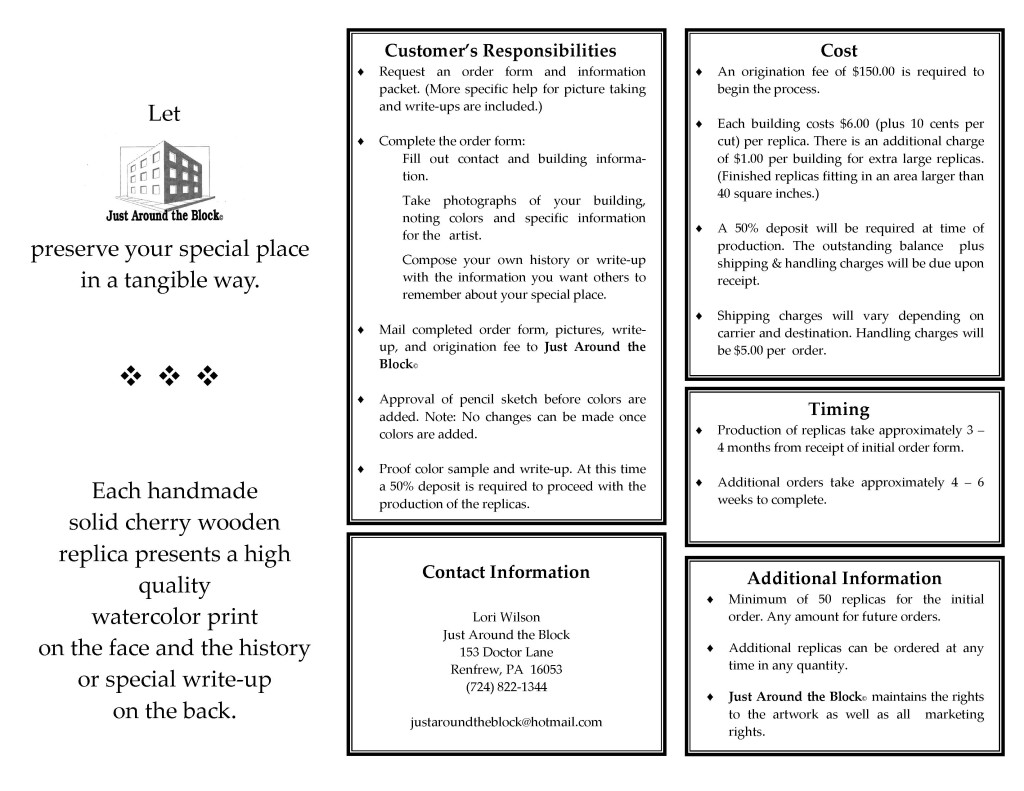 2016 Producing A Custom Wooden Replica Inside Brochure